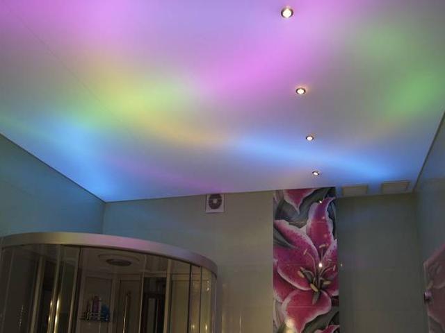 как сделать уровневы потолок с подсветкой из нутри фото